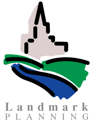 Landmark Planning logo, shows a building with a spire structure in the distance with hillsides in front in green and blue